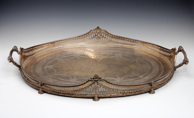 A two-handled oval gallery tray by Mappin & Webb, London 1913