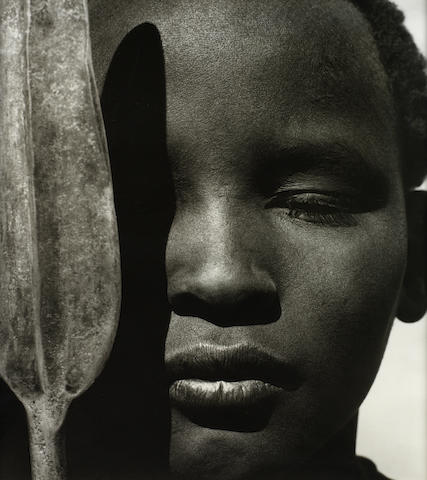 Herb Ritts (American, 1952-2002) Loriki with Spear, Africa, 1993 Sight area 110 x 110cm (43 5/16 x 39 3/8 in.)