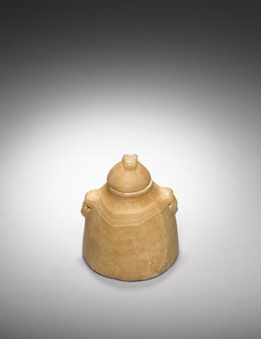 A South Arabian alabaster lidded beehive jar