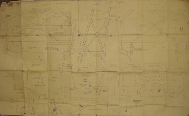 Two Alfa Romeo 8c 2900B Type Lungo blueprints