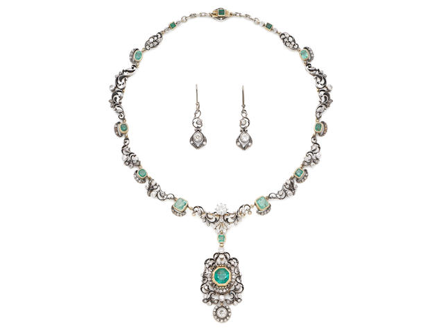 A late 19th century, emerald and diamond pendant necklace