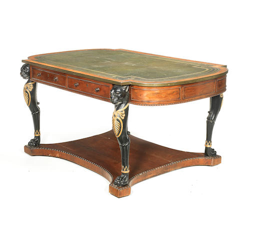 Regency rosewood, ebonised and parcel-gilt library writing table  attributed to Gillows