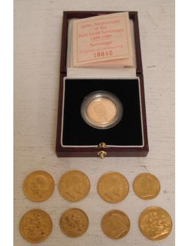 Six sovereigns and three half sovereigns, the sovereigns 1904, 1908, 1911 x 2, 1912 and a cased 500th Anniversary of the First Gold Sovereign, 1489-1989, with certificate, the half sovereigns 1900, 1901 & 1908. (9)