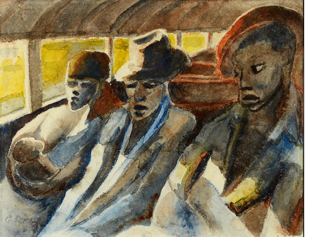 Gerard Sekoto (South African, 1913-1993) Travellers from Sophiatown