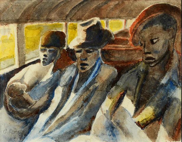 Gerard Sekoto (South African, 1913-1993) Travellers from Sophiatown