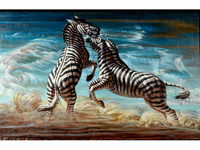 Vladimir Griegorovich Tretchikoff (South African, 1913-2006) 'Fighting zebras'