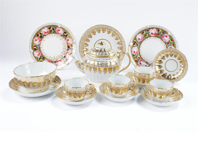 An English porcelain fluted part tea service and two Chamberlain Worcester plates