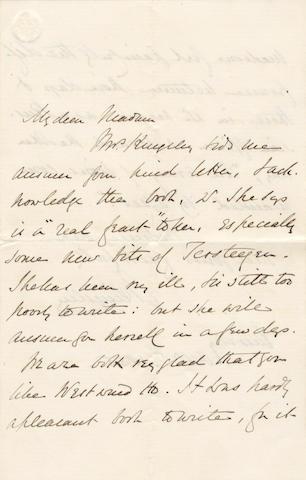 KINGSLEY (CHARLES) Autograph letter signed, 1855