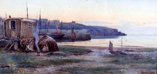 Warren Williams (British, 1860-1941) Gipsy caravan at Cemaes Bay, and another, possibly of the coastline at Anglesey, with figures, horse and cart at a roadside, a pair