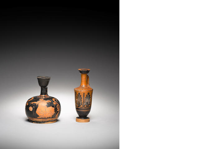 Two Greek pottery lekythoi and eight Campanian red-figure shards, 10