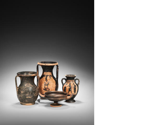 Four Greek black glaze vessels 4