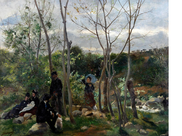 Follower of Edouard Manet (French, 1832-1883) circa 1880 Figures resting in the shade,