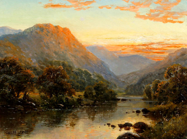 Charles Leader (British, late 19th/early 20th Century) 'Sunset in the mountains', probably in North Wales