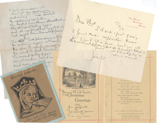 BETJEMAN (JOHN) Collection of presentation copies, greetings cards, autograph letters and notes etc., to his godson (Bernard) Mark Leaky and to Mark's parents Phyllis and Bernard Leaky