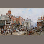 Louise J. Rayner (British, 1832-1924) The horse fair, Foregate Street, Chester