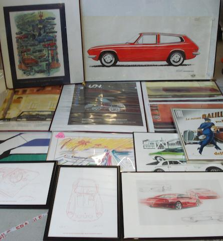 A lot of motorsport art and prints,