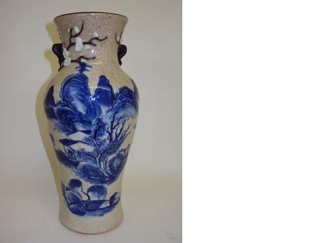 A Chinese blue and white crackle-glazed vase