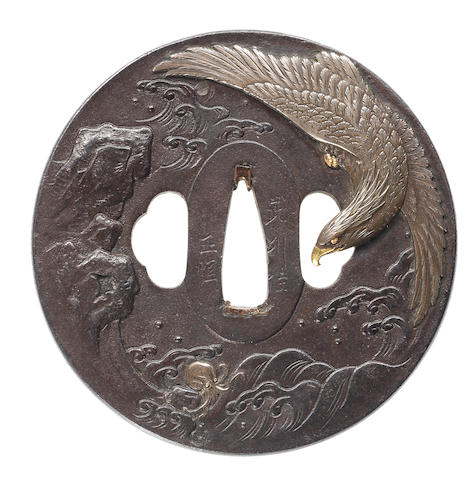 A large iron tsuba  By Iwama Masayoshi and Bushu Masatsune, 19th century