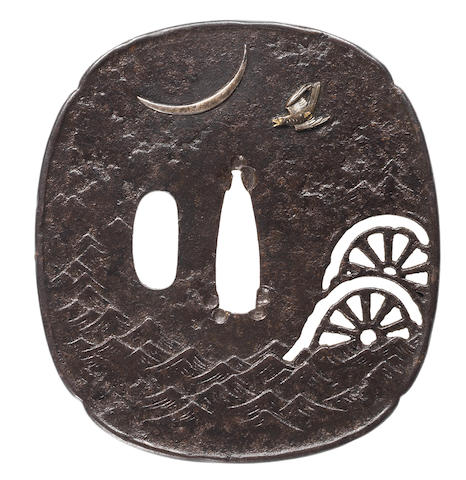 An iron tsuba By Kawarabayashi Hidekuni (1825-1891), 19th century