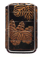 A lacquer four-case inro  17th century