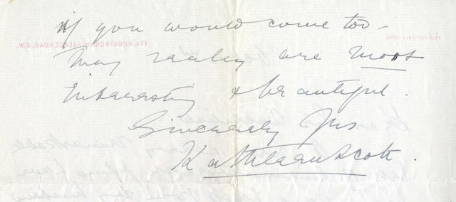 "SCOTT (KATHLEEN) Autograph letter signed (""Kathleen Scott""), to Sir Archibald Geikie, inviting him to view ""a new & very remarkable set of cinematograph films [which] have been sent back from my husband in the Antarctic..."""