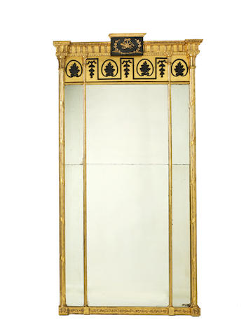 A late George III giltwood and ebonised pier mirror