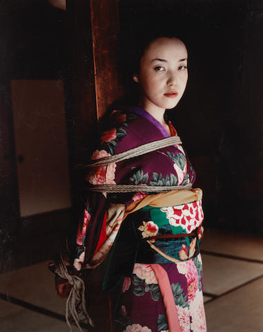 Nobuyoshi Araki (Japanese, born 1940) Bound Woman in Kimono, d???? Sight area 95 x 75.5cm (37 3/8 x 29 3/4in).