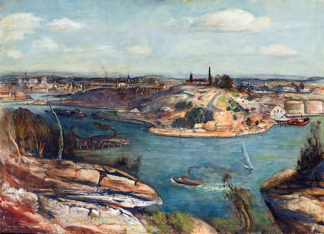 Lloyd  Rees (1895-1988) Morning on the Harbour, Hunters Hill 1951