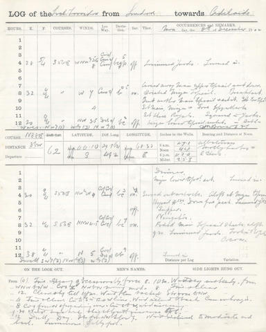 BOWERS (HENRY ROBERTSON) Log of the Loch Torridon, kept by Bowers on a voyage from London towards Adelaide, 1902