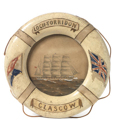 BOWERS (HENRY ROBERTSON, 'Birdie') Souvenir miniature lifebelt of the Loch Torridon enclosing a pencil and watercolour view of the ship