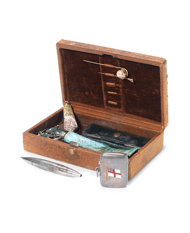 SCOTT (ROBERT FALCON) Captain Scott's dressing box, by Gray and Sons, Piccadilly, containing an assorted collection of ephemeral items, including tie pins, a matchbox and buttons, etc.
