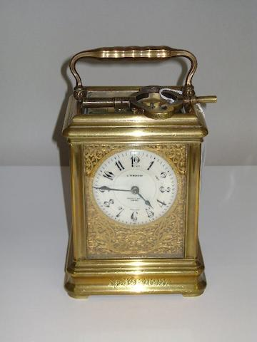 A rare late 19th century French brass giant gorge-cased striking and repeating carriage clock with original numbered key Made by Drocourt, retailed by J.W. Benson, Ludgate Hill, London, number 29259 2