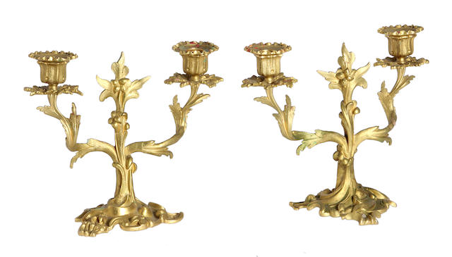 A pair of Rococo style ormolu twin arm candelabraLate 19th/early 20th Century,