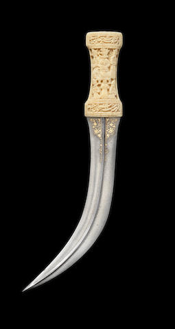 A Persian walrus ivory-hilted dagger