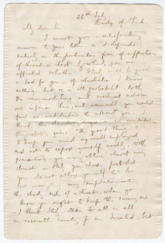 RUSKIN (JOHN) Autograph letter signed, [1853]