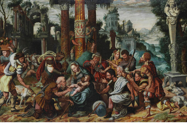 Workshop of Maerten Jacobsz. van Heemskerck (Heemskerck 1498-1574 Haarlem) The Adoration of the Magi