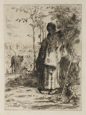 "François Millet (French, 1851-1917) The Large Shepherdess Etching, 1862, on japan, with narrow margins, 315 x 233mm (12 3/8 x 9 1/8in)(PL). Together with a copy of Bresdin's ""La Comedie de la Mort"" (VG 84), trimmed to the image.  2 unframed"