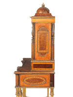 A satinwood, mahogany, sycamore and marquetry and parcel gilt secretaire cabinet reconstructed from an important cabinet by Seddon, Son & Shackleton of 1793 for Charles IV of Spain, the panels possibly by William Hamilton R.A
