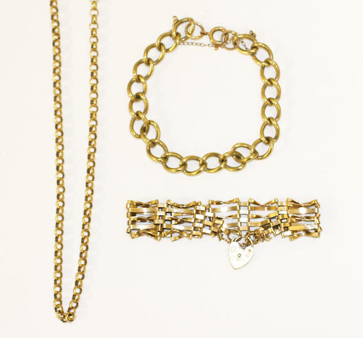 Two yellow precious metal bracelets and a chain,