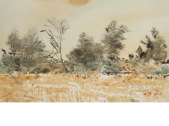Adolph Stephan Friedrich Jentsch (German, 1888-1977) Bush landscape