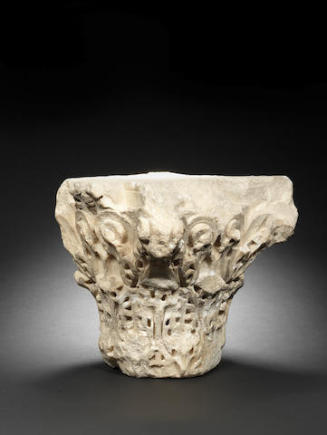 An Umayyad carved marble Capital Madinat-al Zahra, Spain, Period of Al-Hakim II (961-976AD)