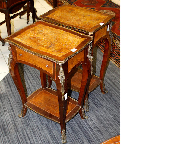 A pair of Louix XV style inlaid two tier side tables,