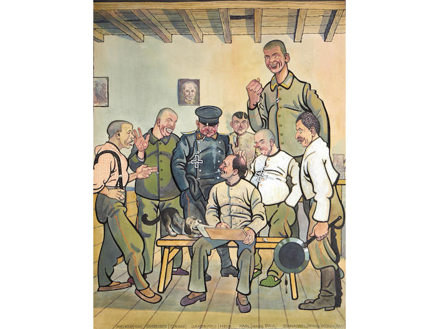 Albert Heim (German, born 1890) A folio of drawings and caricatures from World War I various sizes (79)