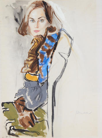 Brian Julian Stonehouse, M.B.E. (1918-1998) Woman with scarf and gloves