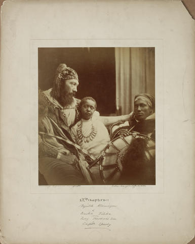 CAM3 - Julia Margaret Cameron, Déjatch Alámayou & Báshá Félika (King Theodore's Son & Captain Speedy), 1868, albumen print on full mount.