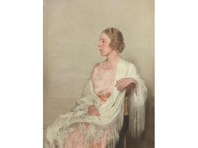 Sir Gerald Festus Kelly (British, 1879-1972) Portrait of Jane with a white shawl XXVII 113 x 87 cm. (44 1/2 x 34 1/4 in.)