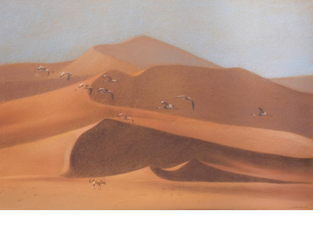 Kim Donaldson (South African, born 1952) Gazelle and birds against sand dunes