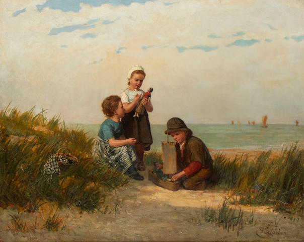 Henri van Seben (Belgian, 1825-1913) Children playing by the sea