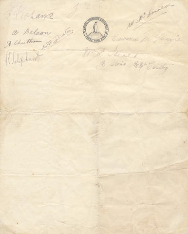 MCKENZIE (EDWARD. A.) Sheet signed by ten members of the <I>Terra Nova</I>; and a portrait of McKenzie