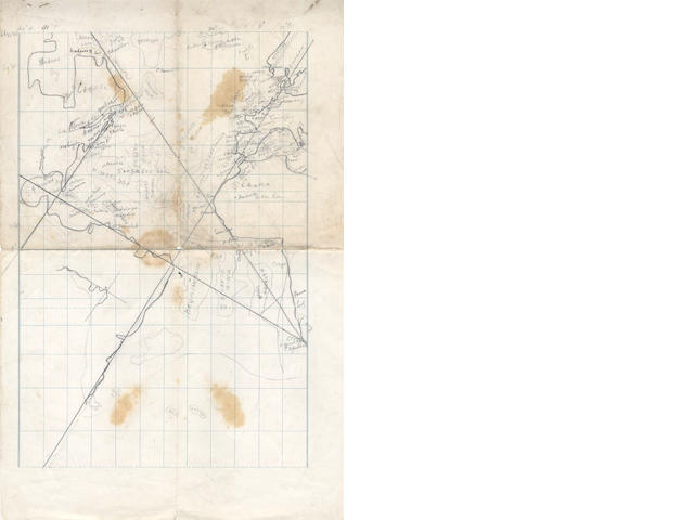 BOWERS (HENRY ROBERTSON) Manuscript hydrographic map drawn by Bowers, extending from the Arctic Circle to the Antarctic; and 2 other items signed by Bowers